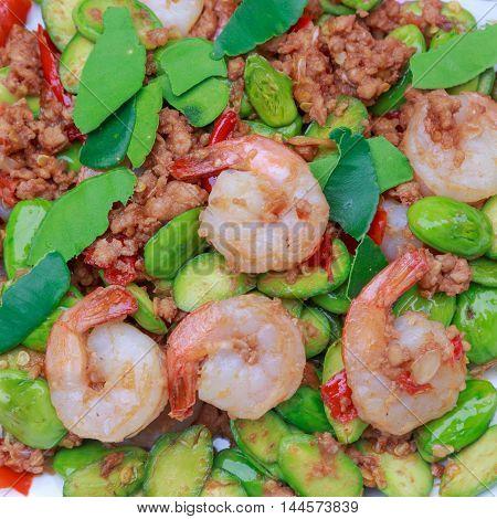 Fried shrimp and shrimp paste with Parkia Speciosa Native Thai food.