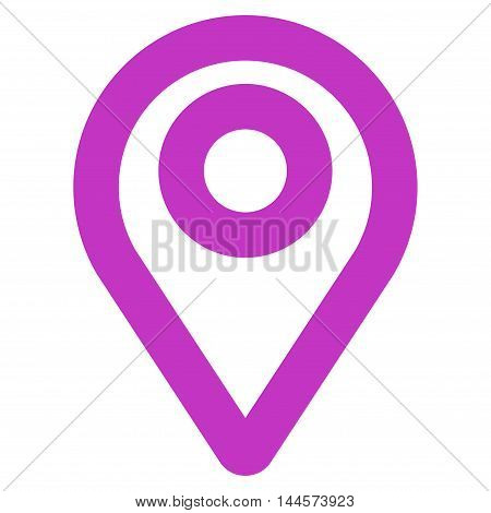 Map Pointer vector icon. Style is contour flat icon symbol, violet color, white background.