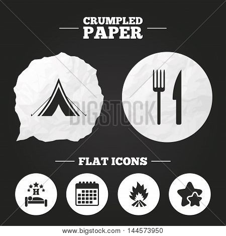 Crumpled paper speech bubble. Food, sleep, camping tent and fire icons. Knife and fork. Hotel or bed and breakfast. Road signs. Paper button. Vector
