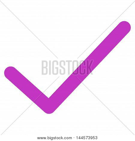 Ok Tick vector icon. Style is stroke flat icon symbol, violet color, white background.