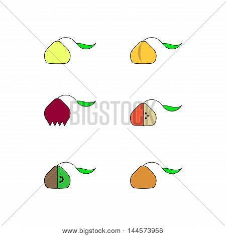 Linear colored icons fruit symbols. It can be used as a logo