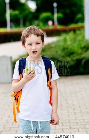 Boy Eating Apple At Road To School.
