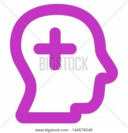 Positive Thinking vector icon. Style is linear flat icon symbol, violet color, white background.
