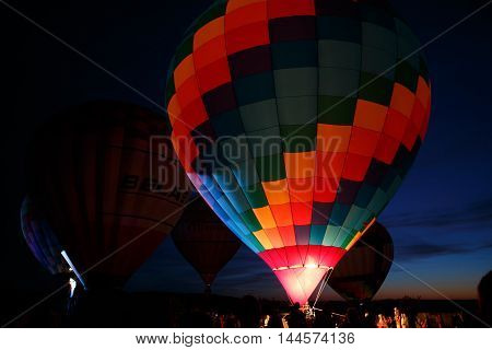 PERESLAVL-ZALESSKY, RUSSIA - 16 JULY 2016: 15-th Hot air balloons festival in Pereslavl-Zalessky, Yaroslavl Oblast. Night flying in 16 july 2016.
