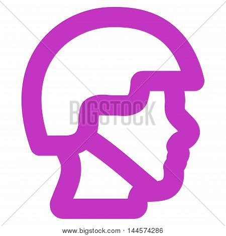 Soldier Head vector icon. Style is outline flat icon symbol, violet color, white background.