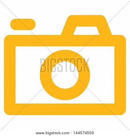 Camera vector icon. Style is contour flat icon symbol, yellow color, white background.