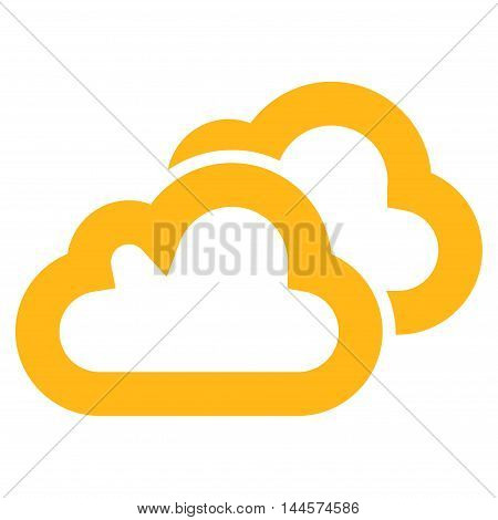 Clouds vector icon. Style is outline flat icon symbol, yellow color, white background.