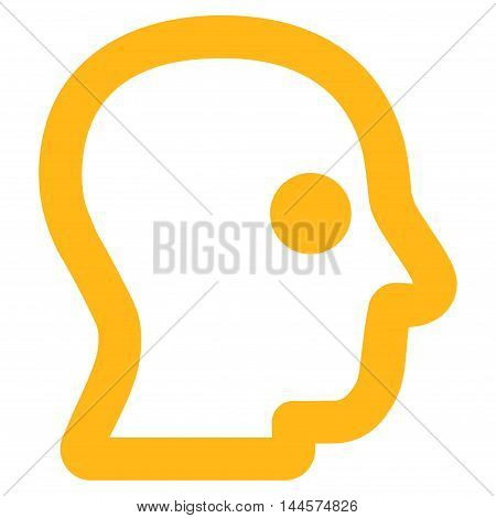 Head Profile vector icon. Style is linear flat icon symbol, yellow color, white background.