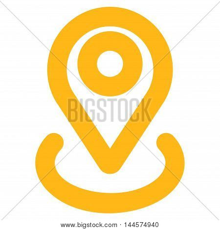 Location vector icon. Style is contour flat icon symbol, yellow color, white background.