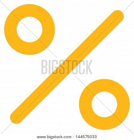 Percent vector icon. Style is outline flat icon symbol, yellow color, white background.