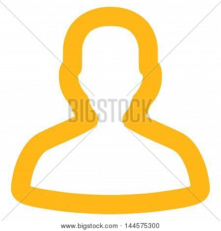 Person vector icon. Style is linear flat icon symbol, yellow color, white background.