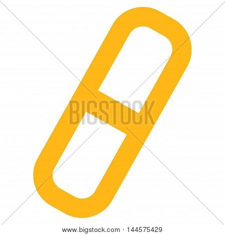 Pill vector icon. Style is linear flat icon symbol, yellow color, white background.