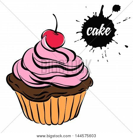 chocolate cupcake with pink cream and cherryisolated on a white background