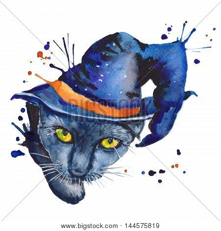 black cat in the hat. a stand-alone sketch. the symbol of Halloween. watercolor illustration.