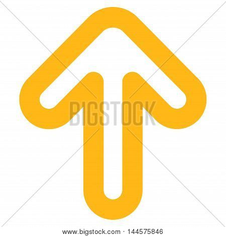 Up Arrow vector icon. Style is contour flat icon symbol, yellow color, white background.