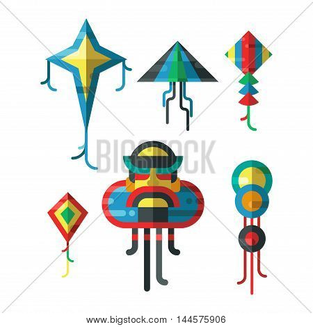 Summer kite and flying kite. Childhood playing freedom game kite and kite hobby toy. Flying kite fun wind summer toy flat vector illustration.