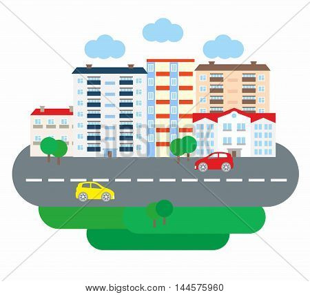 City life business in flat design style. Architecture of a small town. Vector illustration.