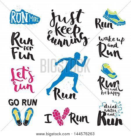 Set of running marathon logo and jogging emblems, labels and badges. isolated vector illustration. Running logo fitness training athlete symbols. Sprint jogging exercise running logo competition.