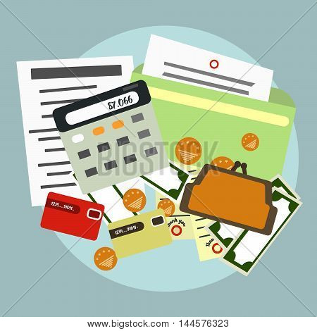 Finance accounts delivery . The calculator documents money Vector illustration
