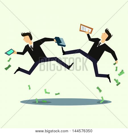 Businessman in panic loss of money the market decline . Vector