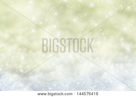 Christmas Texture With Sparkling Stars. Snow And Snowflakes With Golden Background. Copy Space For Advertisement. Card For Seasons Greetings
