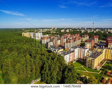 Aerial top view of Lazdynai district in Vilnius, Lithuania in the summer