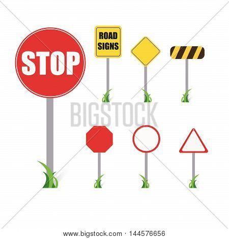 Set of road signs stop home vector illustration