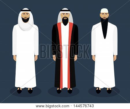 Arab male character set. Sheikh Nationality Vector illustration
