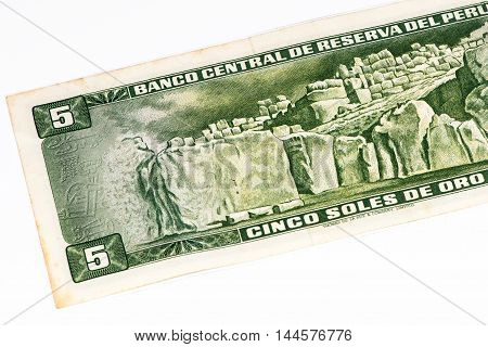 5 soles de oro bank note. Soles de oro is the national currency of Peru
