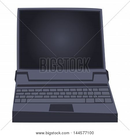 Modern laptop computer isolated on white background vector. Laptop keyboard isolated on white background technology communication vector. Flat laptop front view. Technology front view vector