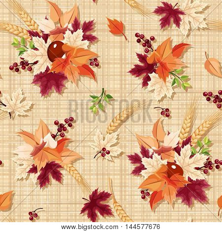 Vector seamless pattern with colorful autumn leaves on a beige sacking background.