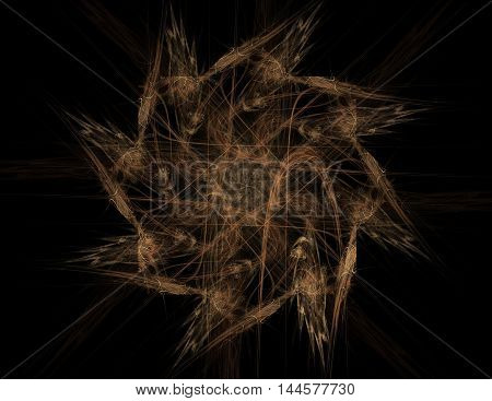 Particles of abstract fractal forms on the subject of nuclear physics science and graphic design. Gold Geometry sacred futuristic quantum digital hologram texture in development wave surreal design.