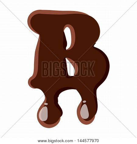 Letter B from latin alphabet with numbers and symbols made of dark melted chocolate