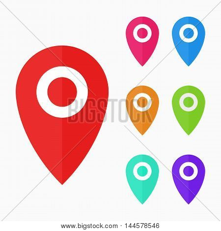 Pointers labels vector graphics, location or position symbol, gps navigation
