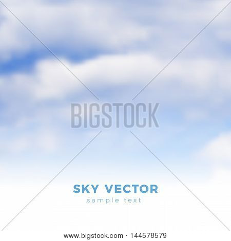 Fluffy clouds on blue sky, heaven vector illustration - gradient mesh