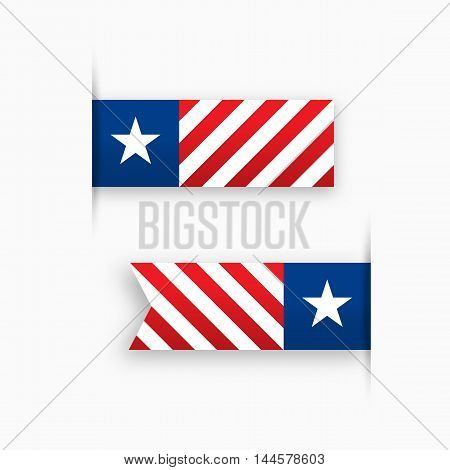 USA paper tags, star and stripes, label vector illustration