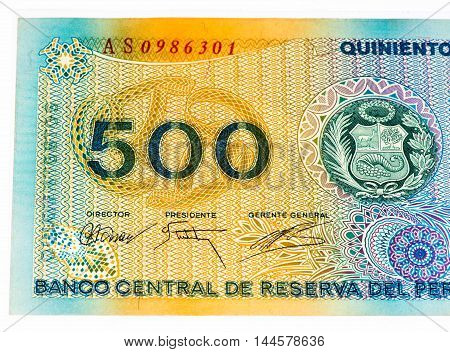 500 soles de oro bank note. Soles de oro is the national currency of Peru