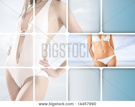 Sexy lady wearing swimsuit isolated on white