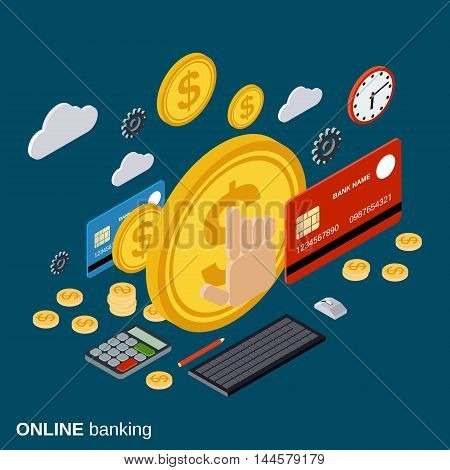 Money transfer, financial transaction, online banking, currency exchange vector concept