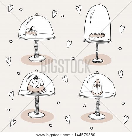 Cakes outlined hand drawn vector icons. Doodle illustration