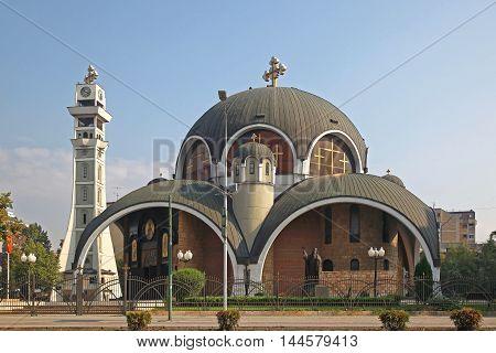 SKOPJE MACEDONIA - SEPTEMBER 18: Saint Clement Church in Skopje on SEPTEMBER 18 2012. Orthodox Church Archbishopric of Ohrid and Macedonia in Skopje.