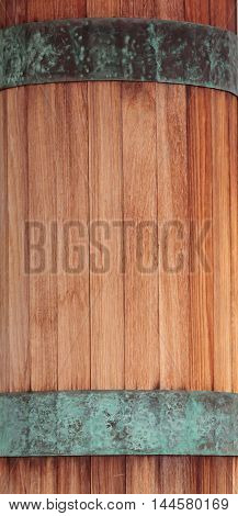 Red wood and green copper band textured background