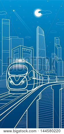 Train moves on the bridge. Business center, architecture, transport and urban illustration, neon city, white lines composition, skyscrapers and towers, vector design art