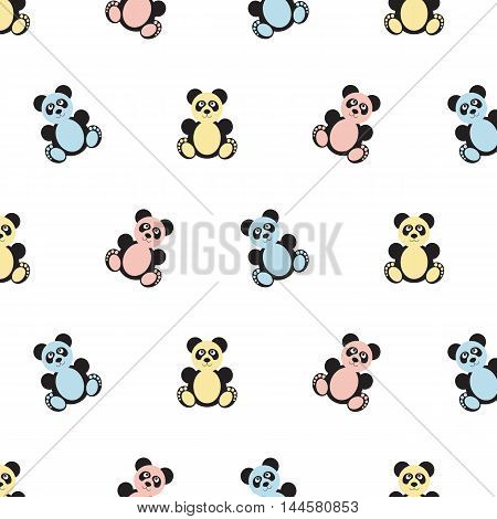Panda bear pattern. Seamless vector illustration. Flat design style. Swatch inside
