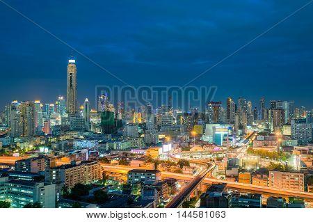 Bangkok city skyline and Bangkok skyscrapers building at night in Bangkok city Thailand.