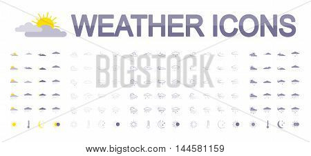 Weather icons set for web and mobile application. Vector illustration on a white background. Flat design style.