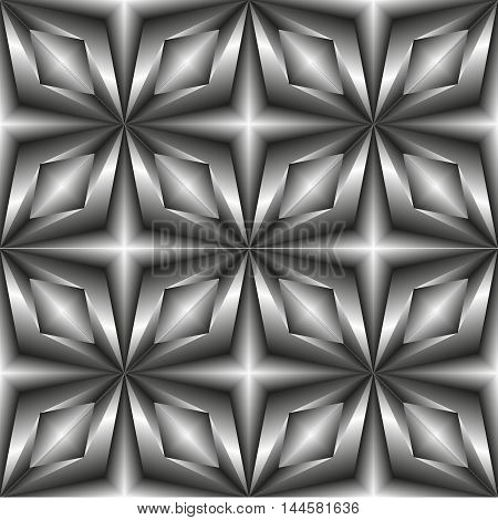 Pattern tiles in monochrome of the stars. Grey gradient tile film or oilcloth.