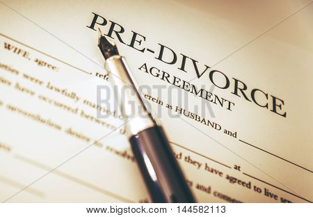Divorce Documents Signing Theme. Pre Divorce Document.