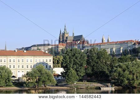 PRAGUE, CZECH REPUBLIC - JUNE 23, 2016: Prague Castle view of the river Vltava in sunny day