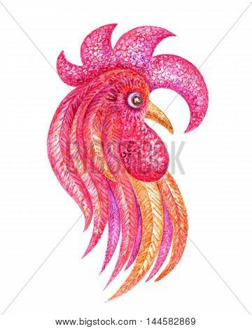 Fiery rooster - a symbol of new 2017 on the Chinese horoscope. Watercolor  painting.